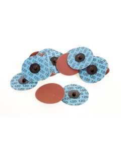 75mm Abrasive Disc With Roll On Adaptor, P120 Grit, 100 Discs