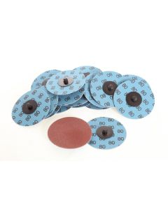 75mm Abrasive Disc With Roll On Adaptor, P80 Grit, 100 Discs